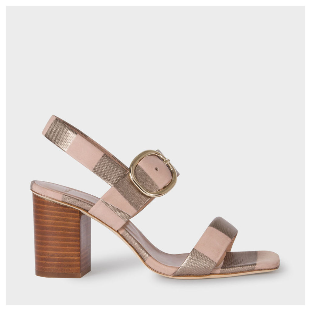 Women's Taupe Metallic Stripe Nubuck 'Roz' Heeled Sandals
