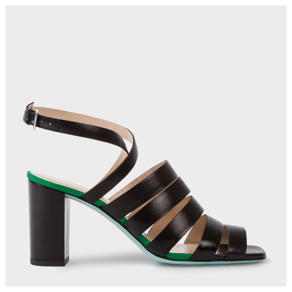 Women's Black Leather 'Asa' Heeled Sandals