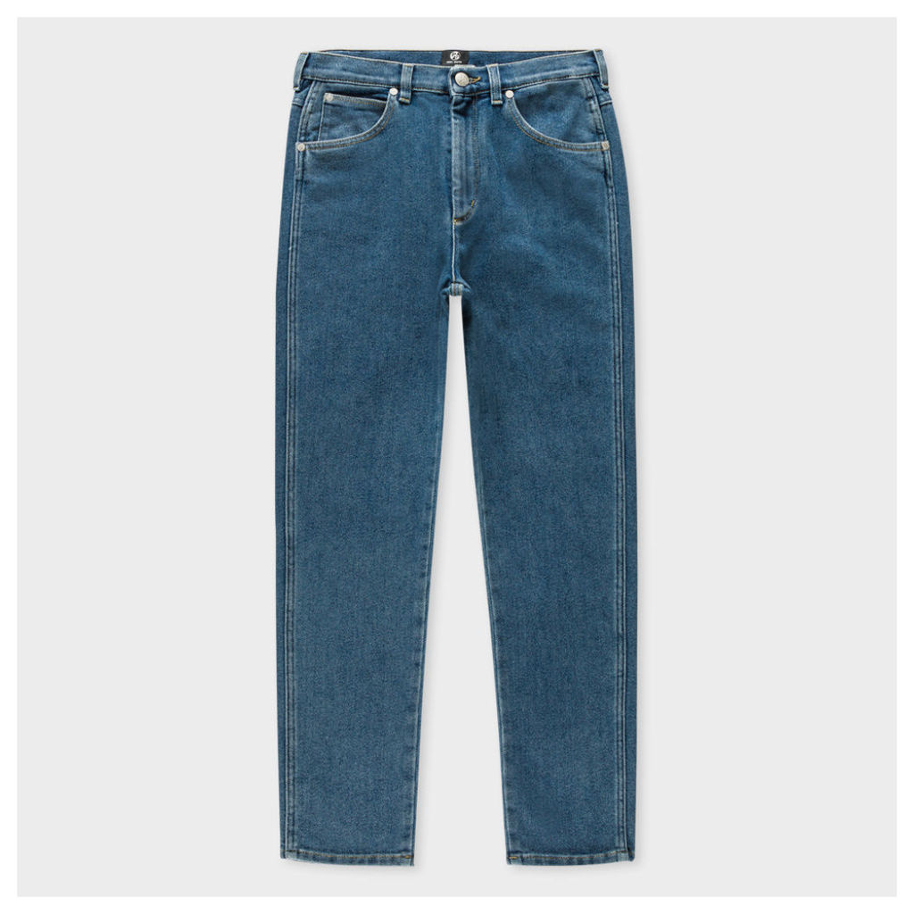 Women's Mid-Wash High-Waist Cropped Jeans