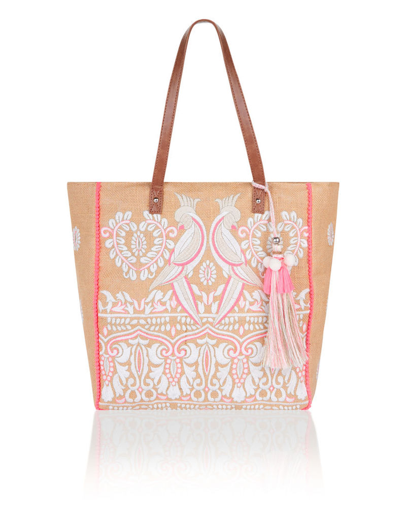 Mia Embroidered Bird Hessian Tote Bag
