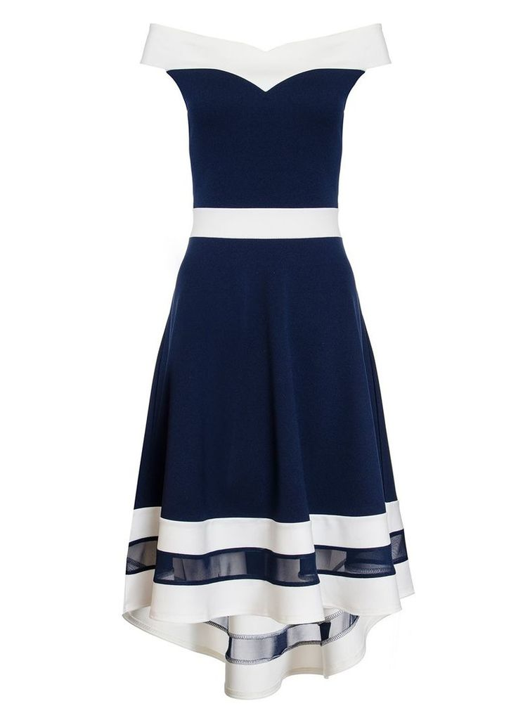 Quiz Navy And Cream Sweetheart Dress, Navy