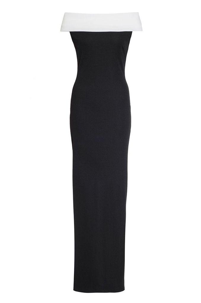 Quiz Black And Cream Bardot Maxi Dress, Black
