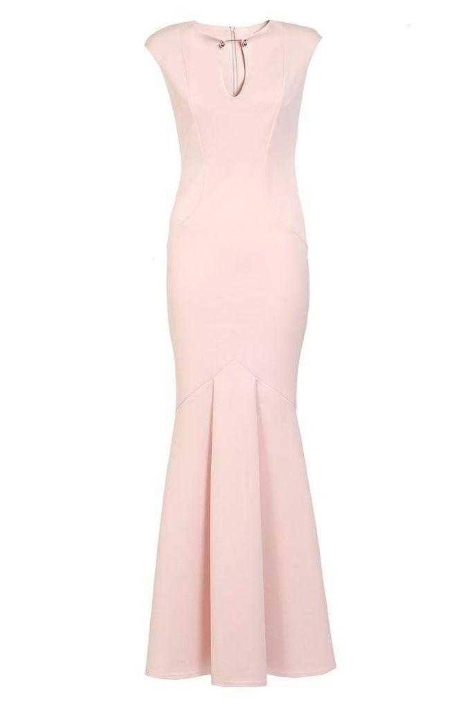 Quiz Nude Bodycon Fishtail Maxi Dress, Nude