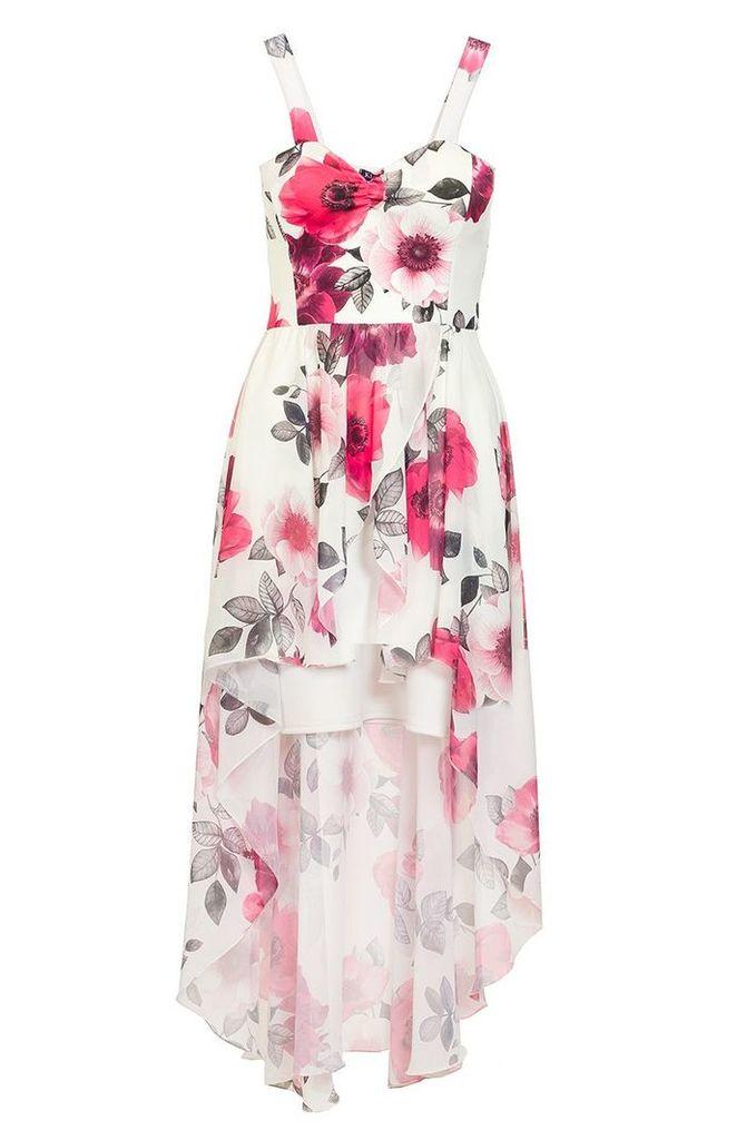 Quiz Cream And Pink Dip Hem Dress, Cream