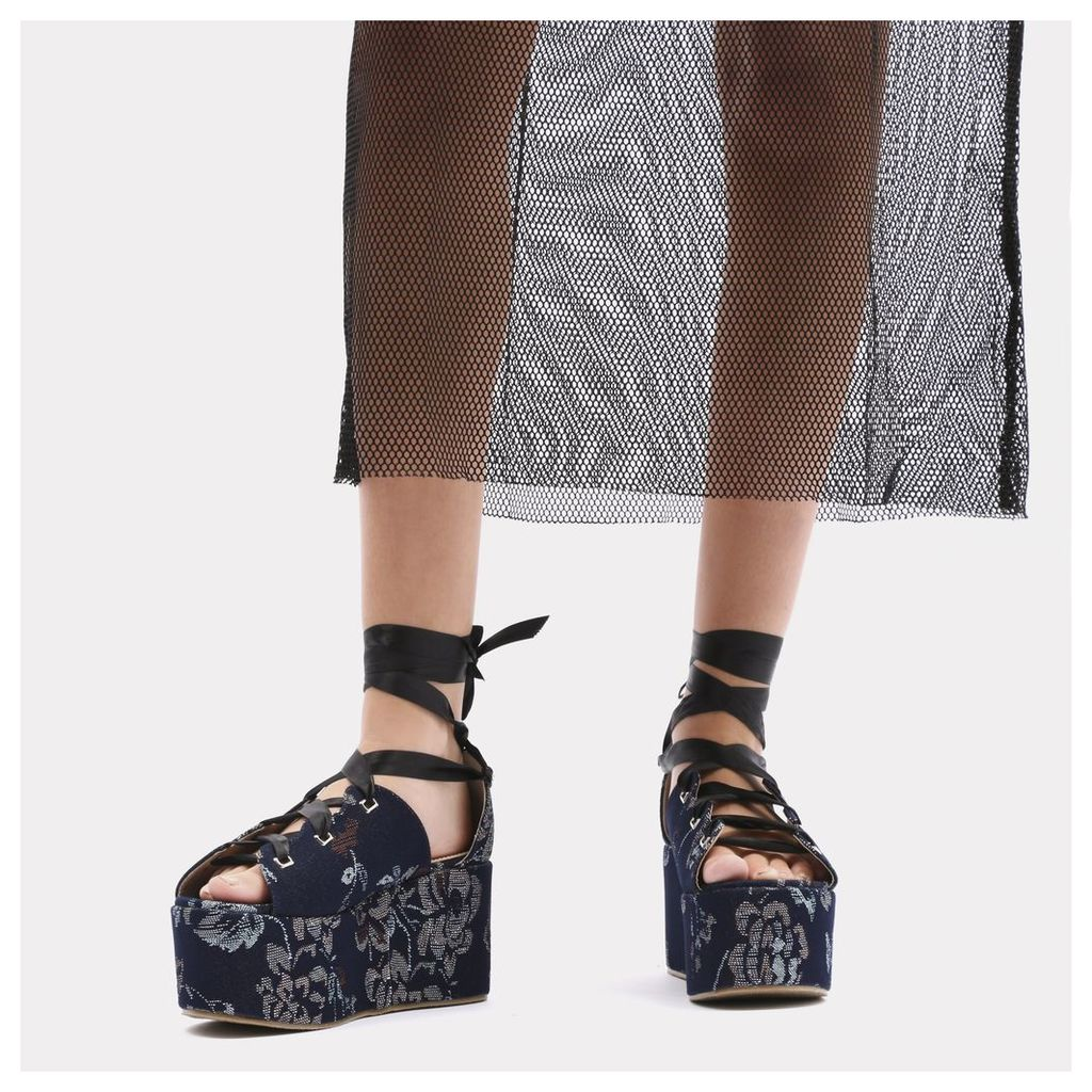 Storm Embroidered Lace Up Flatforms in Blue Denim