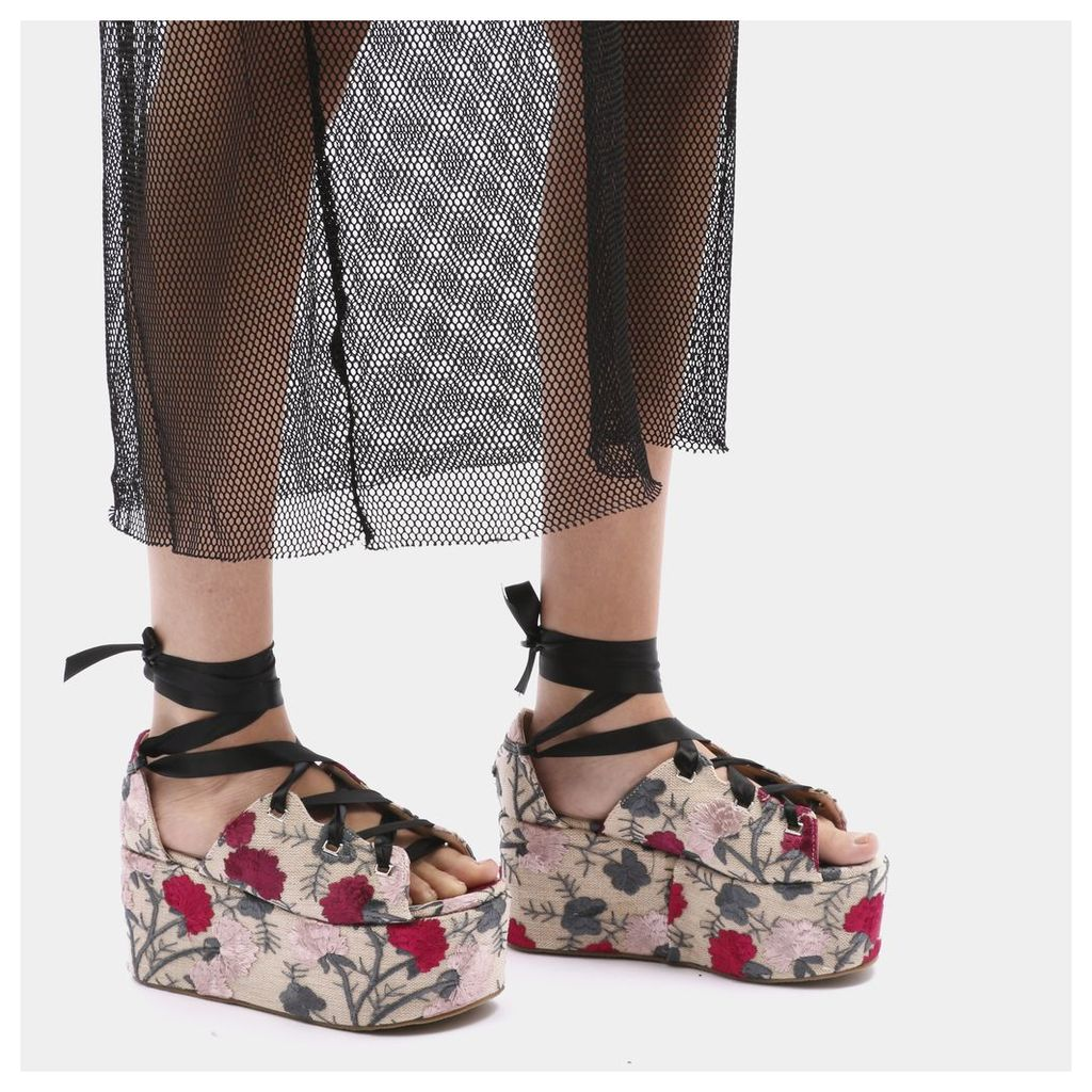Storm Embroidered Lace Up Flatforms in Plum