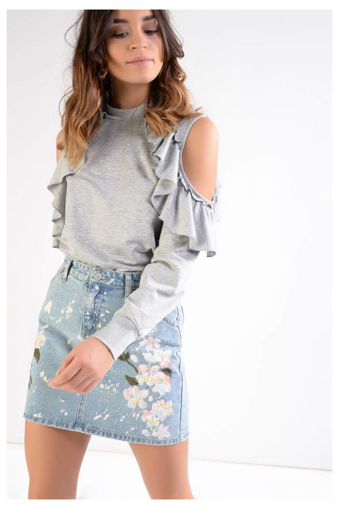 Grey Jersey Cold Shoulder Ruffle Top
