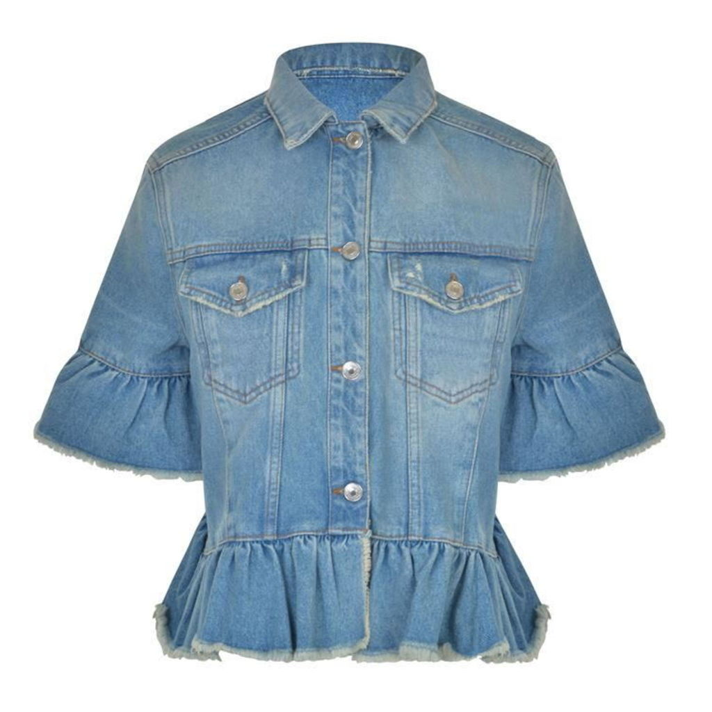 MSGM Denim Ruffle Jacket