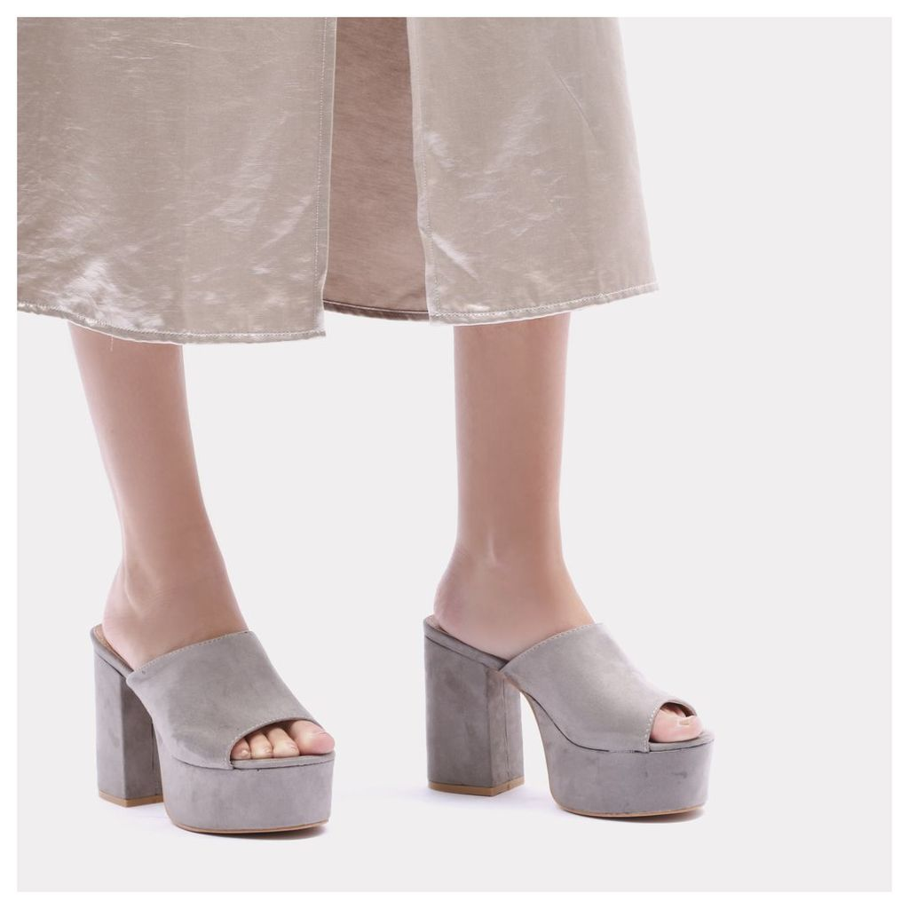 Misty Platform Backless Mules in Grey Faux Suede