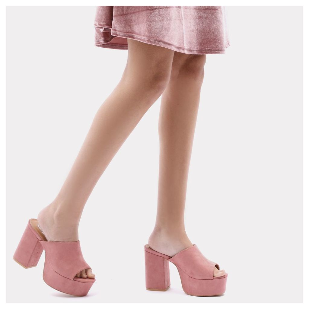 Misty Platform Backless Mules in Rose Pink Faux Suede