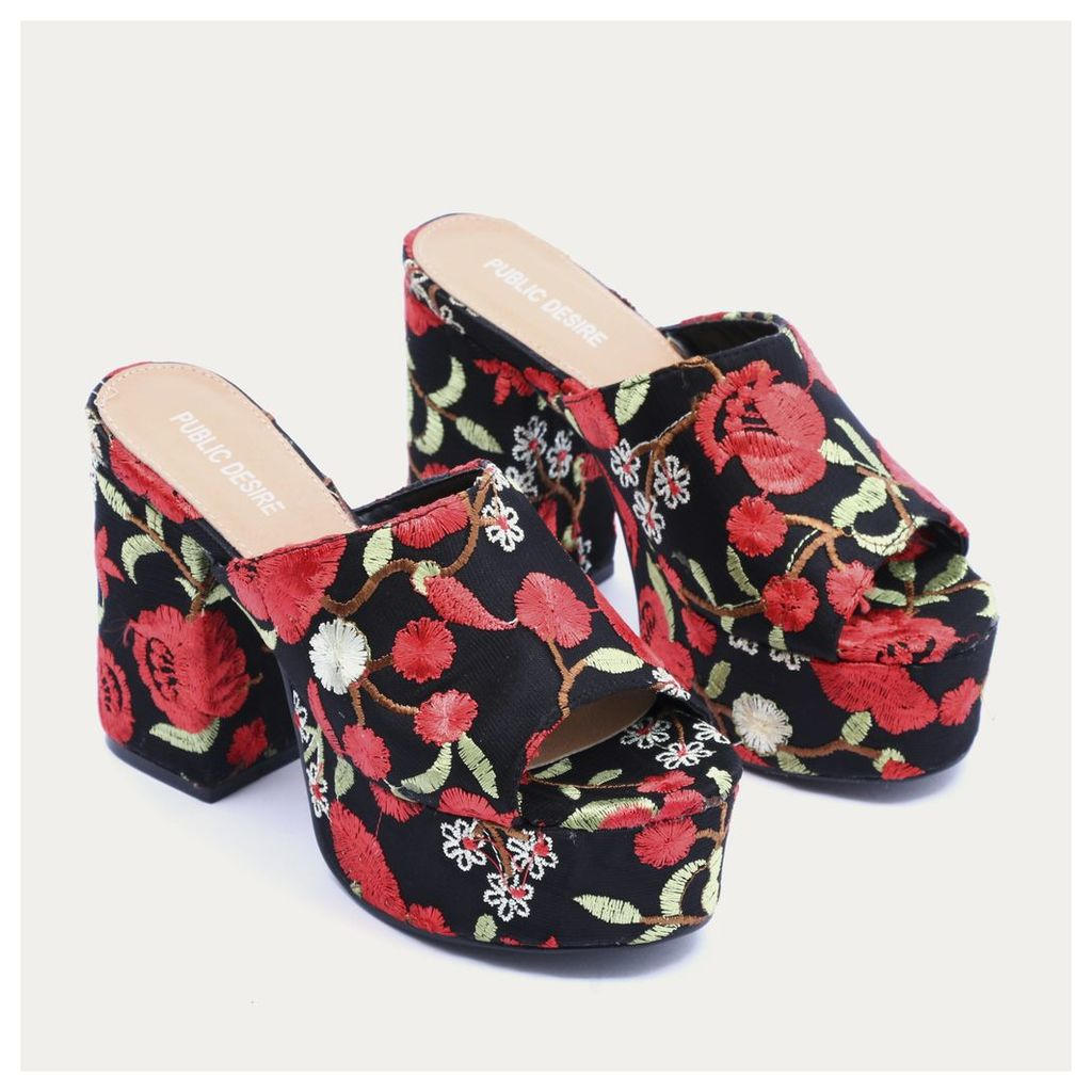 Misty Platform Backless Mules in Red Embroidered