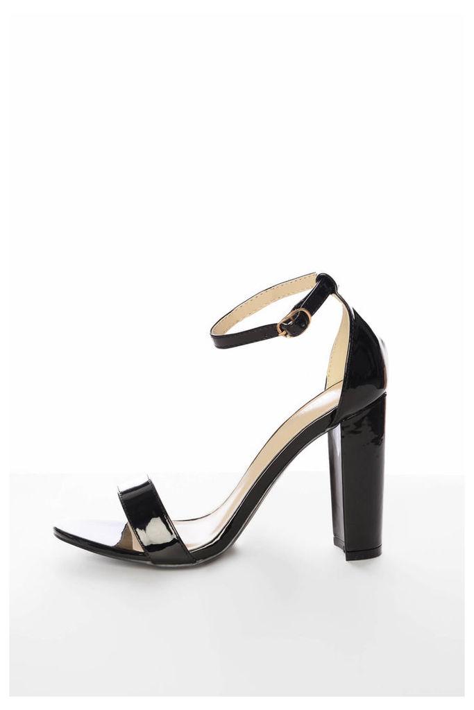 Black Patent Block Heeled Sandals