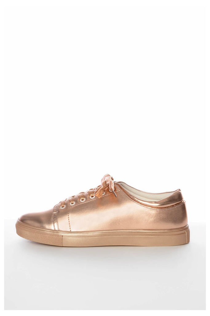 Rose Gold Lace Up Trainers