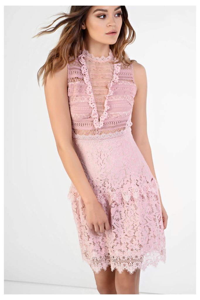 LOOK X GLAMOROUS Pink Lace Skater Dress