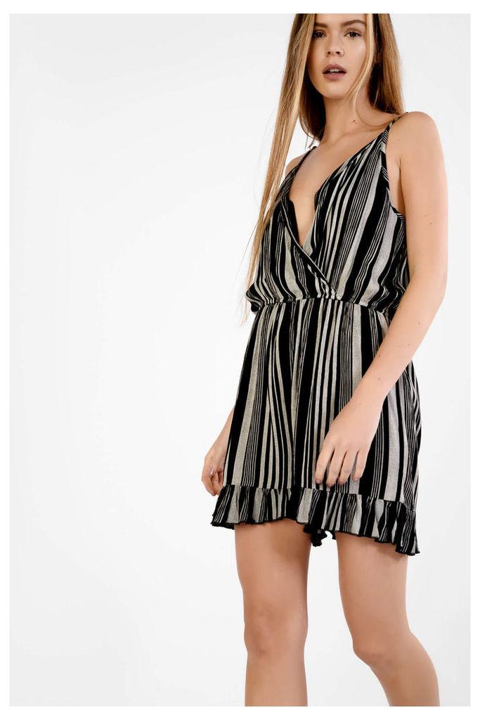 Black White Multi Stripe Wrap Front Dress
