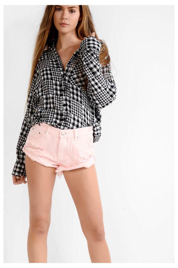 Light Pink Cut Off Denim Shorts