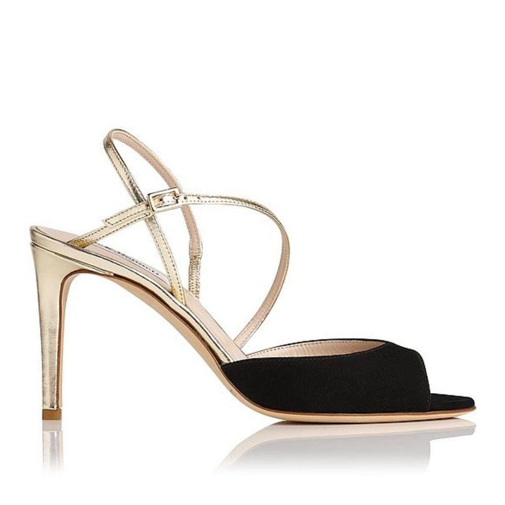 Camilla Black Leather Formal Sandals