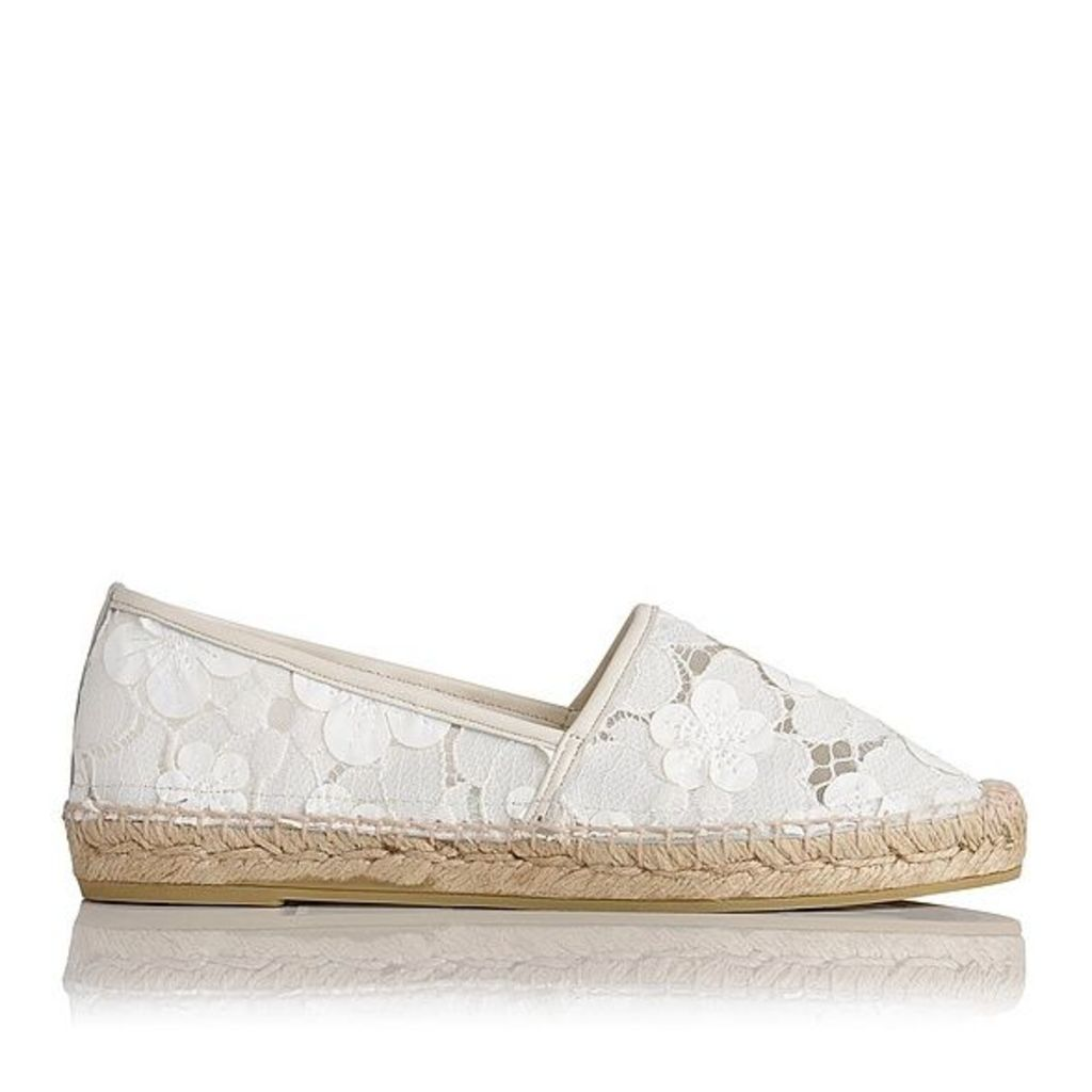 Elsie White Fabric Leather Mix Flats