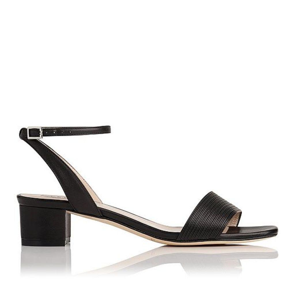 Charline Black Leather Formal Sandals