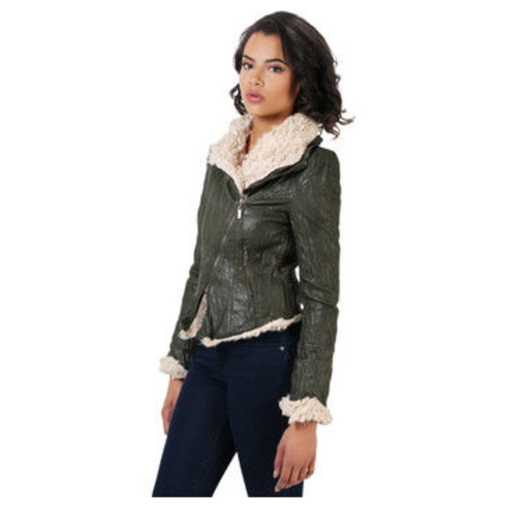 Krisp  Fur Collar PU Shearling Jacket  women's Leather jacket in green