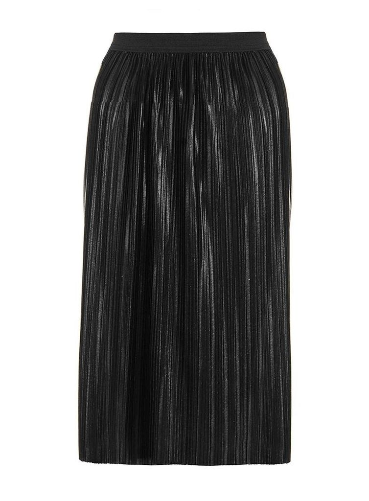 Womens *Quiz Black Pleated Metallic Skirt- Black