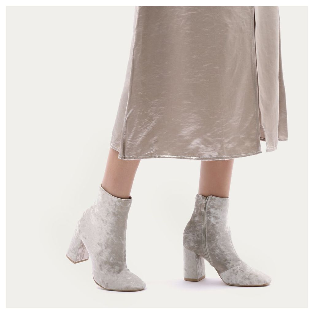 Cleo Crushed Velvet Ankle Boots in Cream