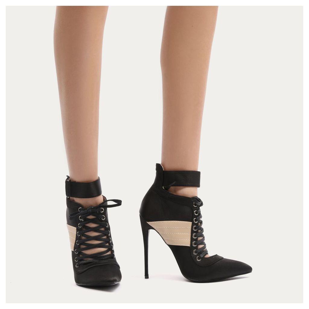 Fifi Lace Up Sport Stripe Strap Boots in Black Satin