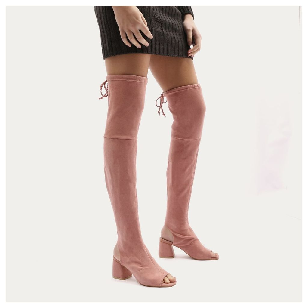 Kodie Flared Heel Over The Knee Boots in Rose Faux Suede