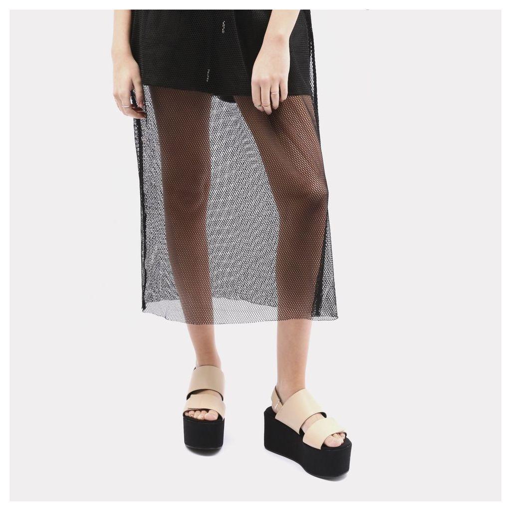 Pixie Velcro Strap Flatform Sandals in Nude