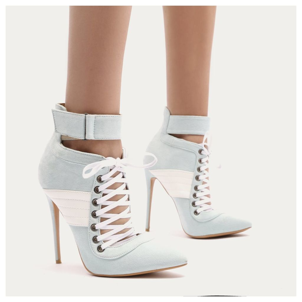 Fifi Lace Up Sport Stripe Strap Boots in Baby Blue Faux Suede