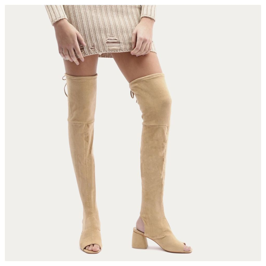Kodie Flared Heel Over The Knee Boots in Nude Faux Suede
