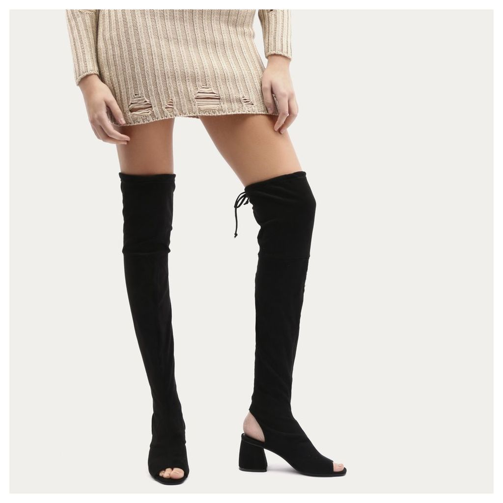 Kodie Flared Heel Over The Knee Boots in Black Faux Suede