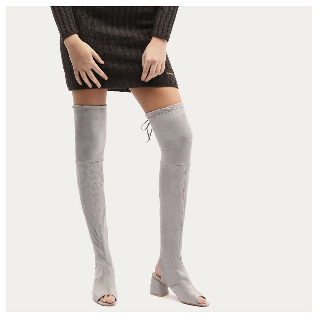 Kodie Flared Heel Over The Knee Boots in Grey Faux Suede