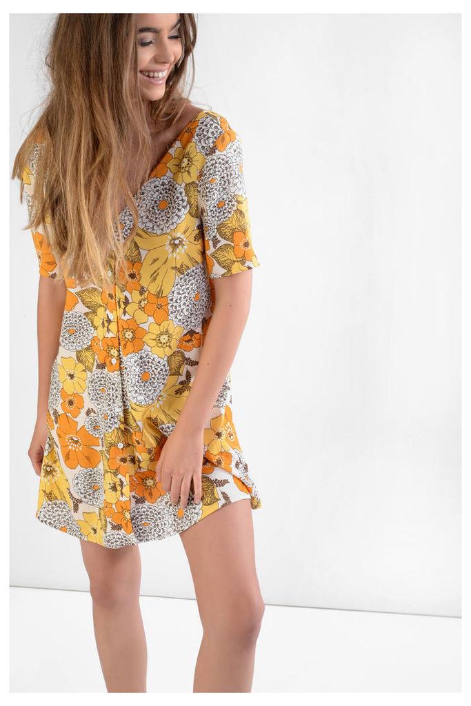 Yellow Mix Floral Print Button Front Tea Dress