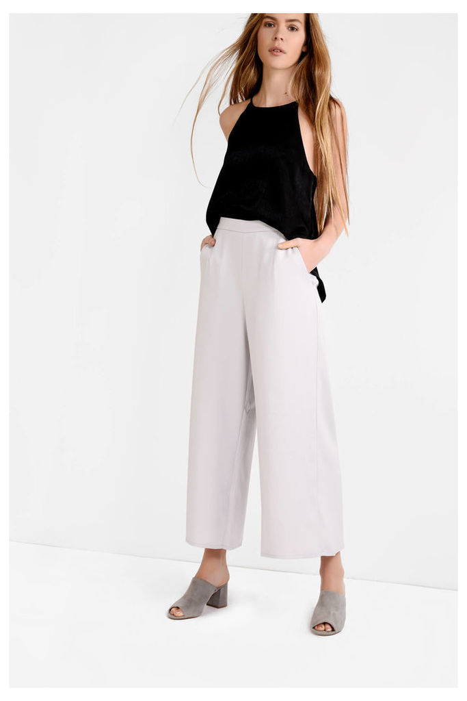 Light Grey Wide Leg Cropped Trousers