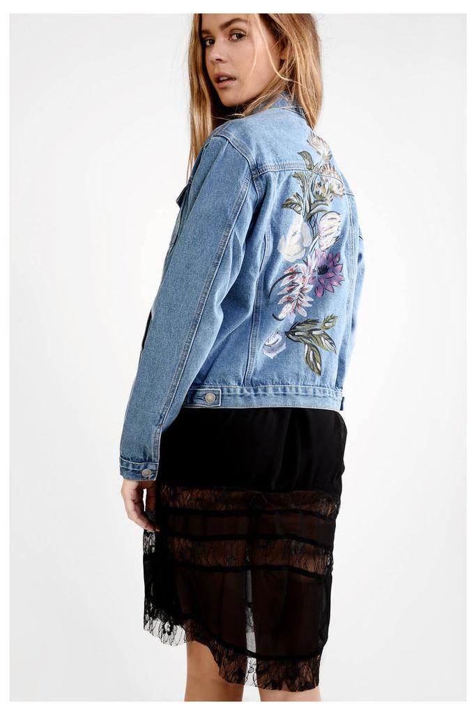 Mid Blue Painted Denim Jacket
