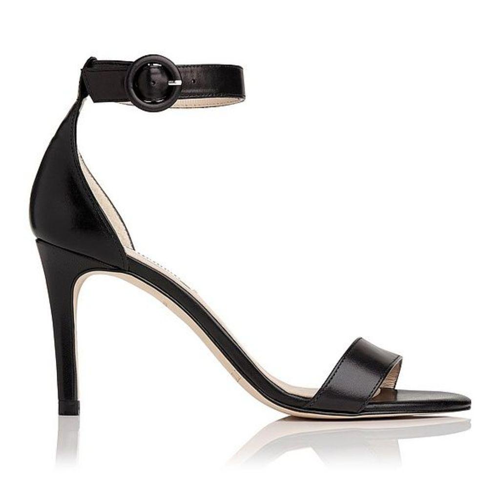 Dora Black Leather Formal Sandals