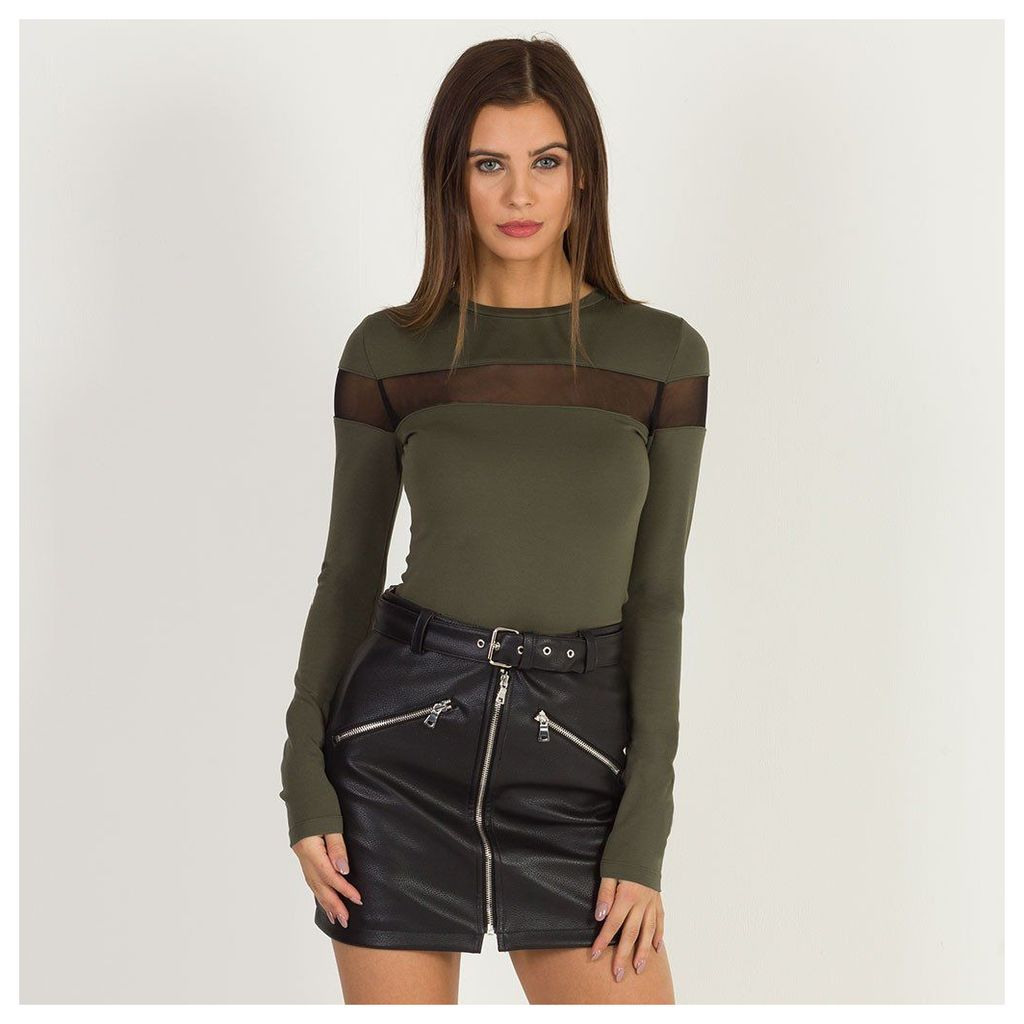 Maniere De Voir; Mesh Panel Long-Sleeved Top - Khaki