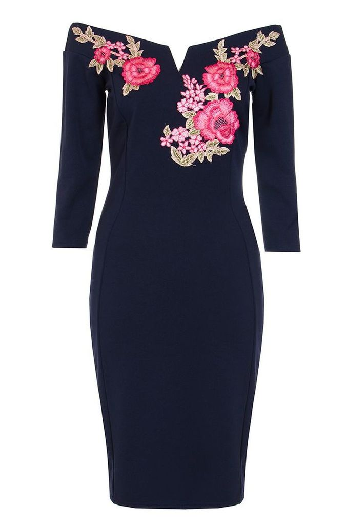 Quiz Navy Embroidered Bardot Midi Dress, Navy