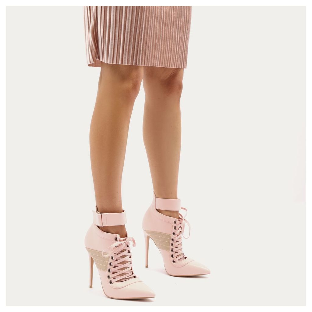 Fifi Lace Up Sport Stripe Strap Boots in Baby Pink