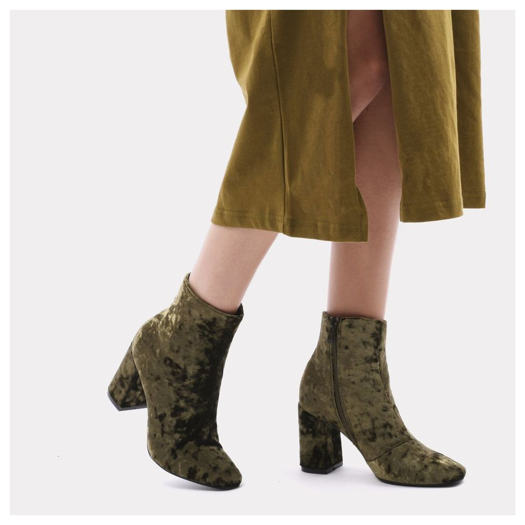 Cleo Crushed Velvet Ankle Boots in Khaki