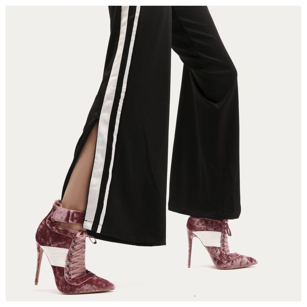 Fifi Lace Up Sport Stripe Strap Boots in Rose Crushed Velvet