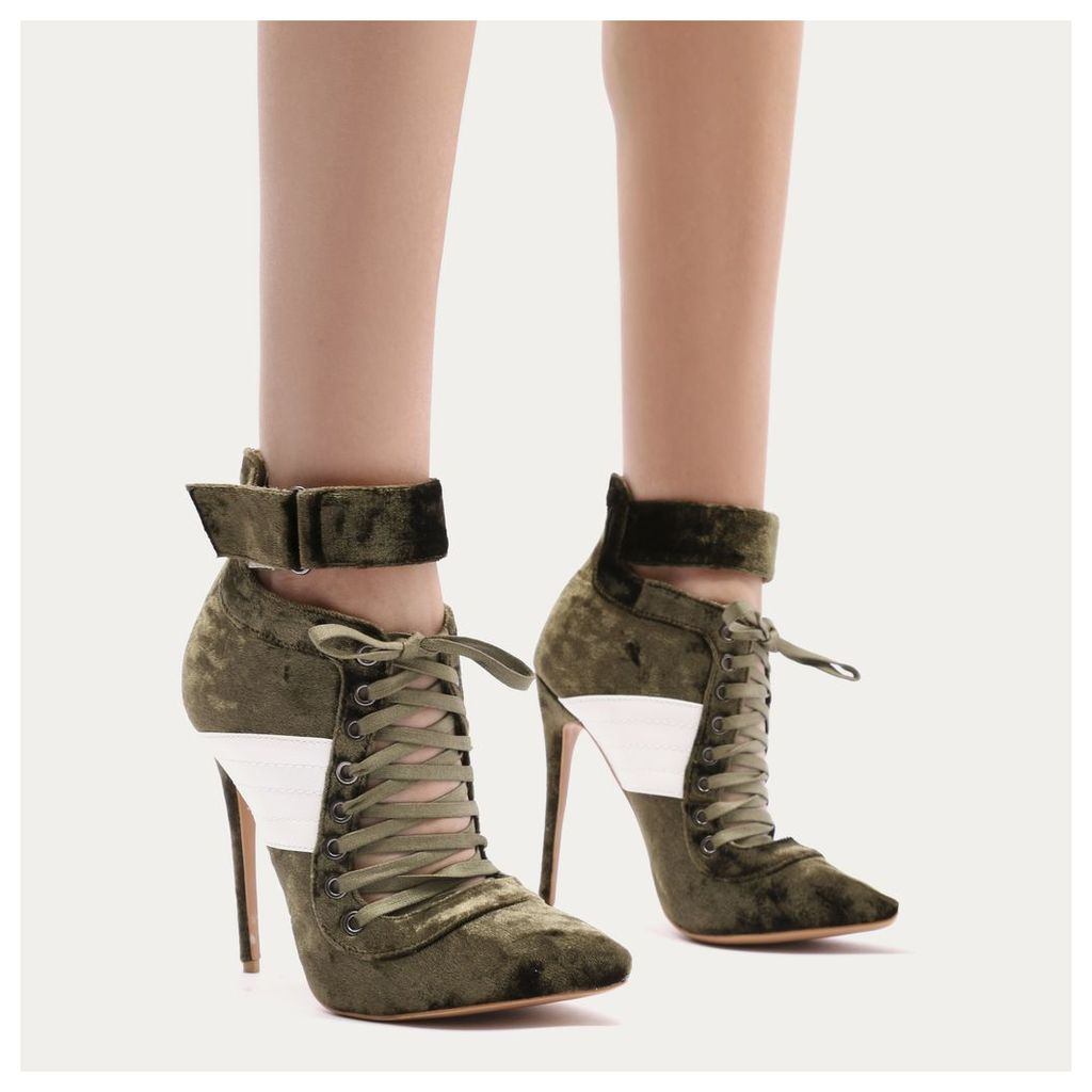 Fifi Lace Up Sport Stripe Strap Boots in Khaki Crushed Velvet
