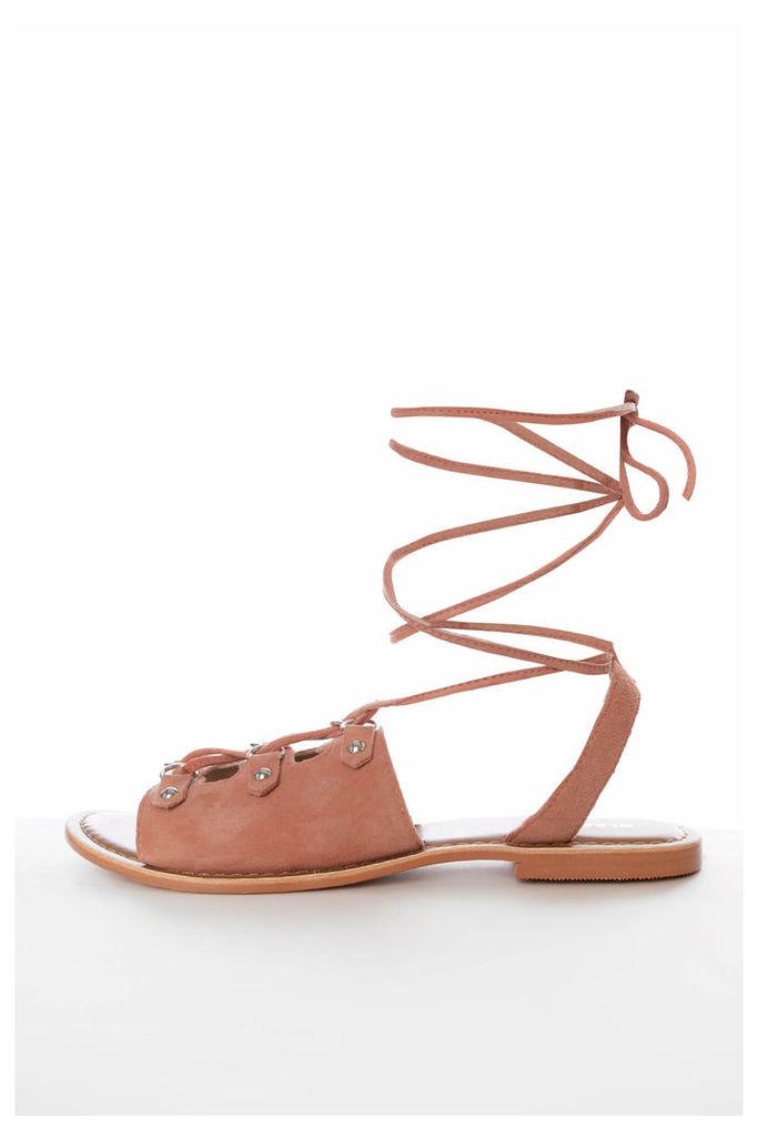 Pink Suede Tie Up Sandals