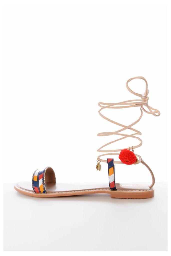 Tan Gladiator Charm Sandals