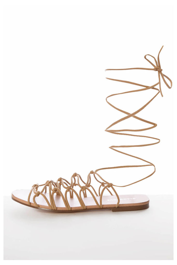 Tan Lace Up Gladiator Flat Sandals