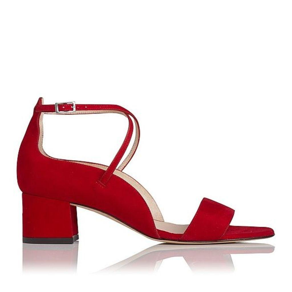 Dina Red Suede Formal Sandals