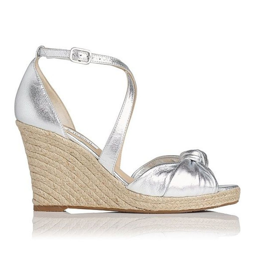 Angeline Silver Nappa Leather Sandals