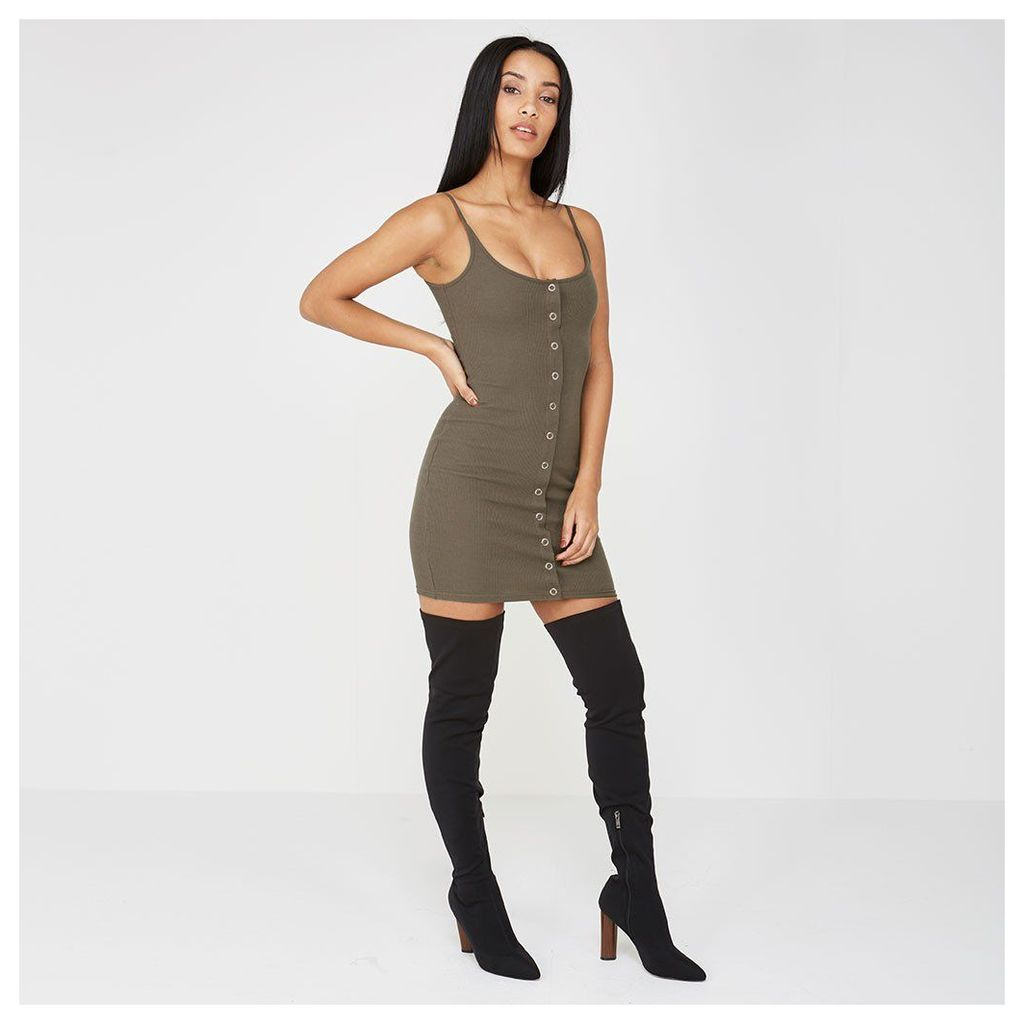 Maniere De Voir; Rib Popper Front Bodycon Dress - Khaki