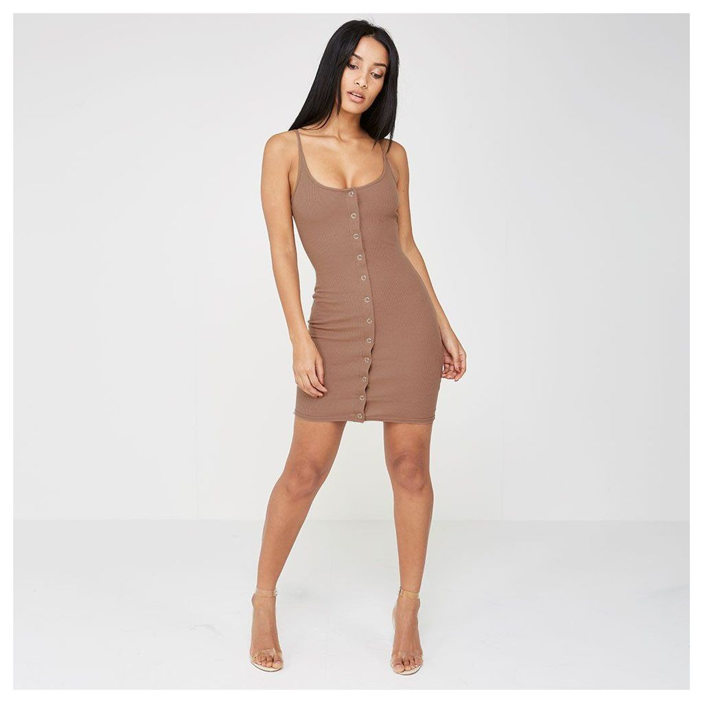 Maniere De Voir; Rib Popper Front Bodycon Dress - Mauve